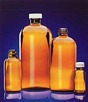 Sample Containers - Amber Glass Boston Round Bottles